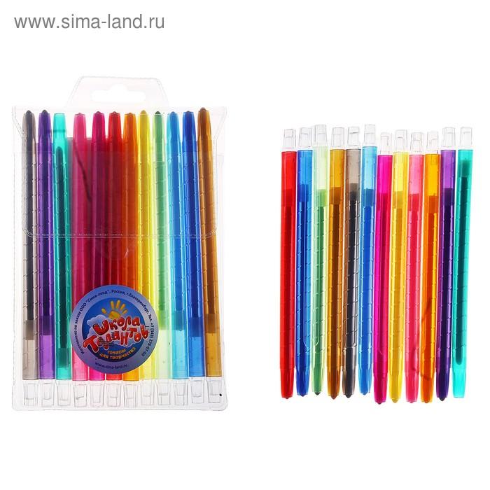 Восковые карандаши, набор из 12 цветов, высота 1 шт 17 см, диаметр 0,5 см