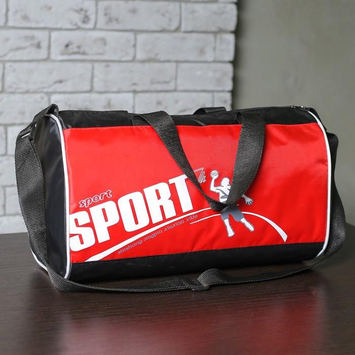 Сумка спортивная SPORT 1 отдел, регулируемый ремень, красный