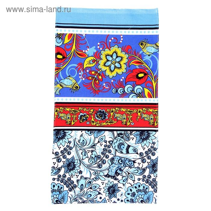 "Полотенце вафельное набивное ""Хохлома"", размер 40х75 см, 160 г/м², цвет голубой"