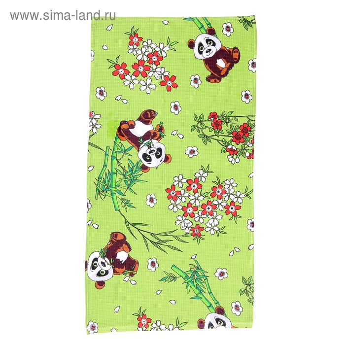 "Полотенце вафельное набивное ""Панды"", размер 40х75 см, 160 г/м2, цвет зелёный"