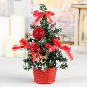 елка декор 20 см красная снег