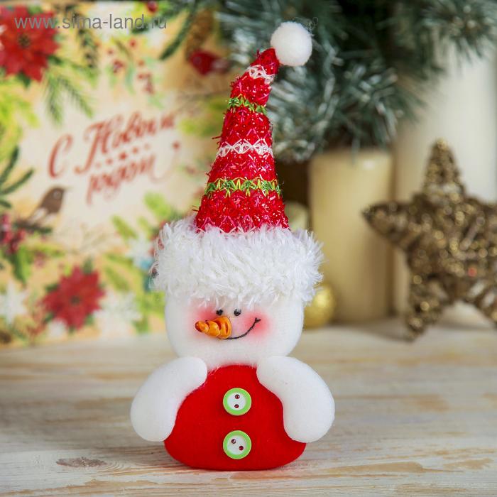 """Мягкая игрушка """"Снеговик в высоком колпаке"""""""