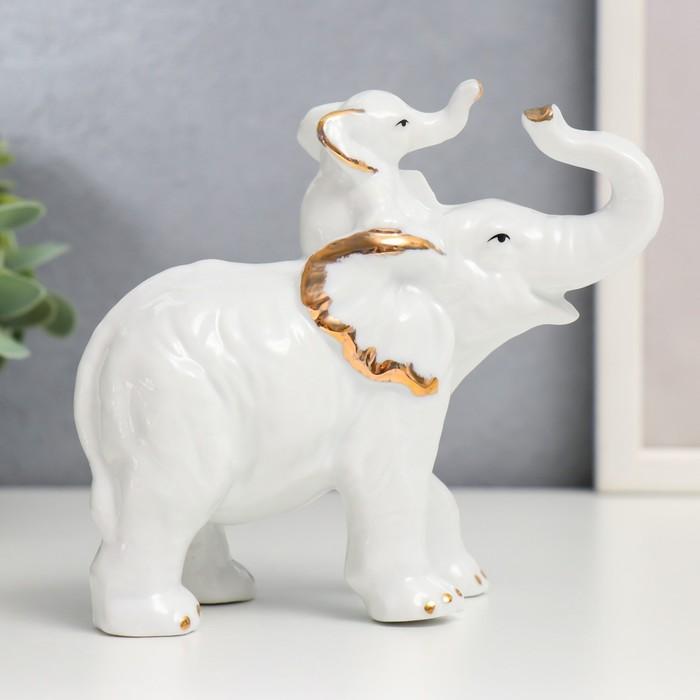 "Сувенир ""Белый слон-золотые ушки со слонёнком"""