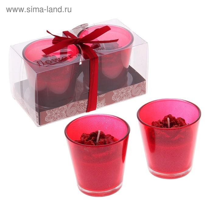 """Свечи восковые (набор 2 шт) """"Камелия"""", цвет красный"""
