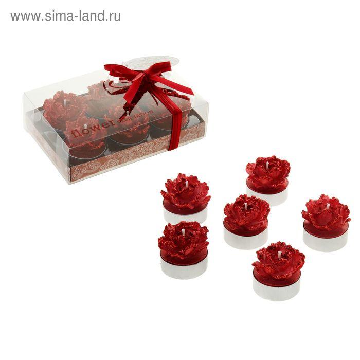 """Свечи восковые (набор 6 шт) """"Камелия"""", цвет красный"""