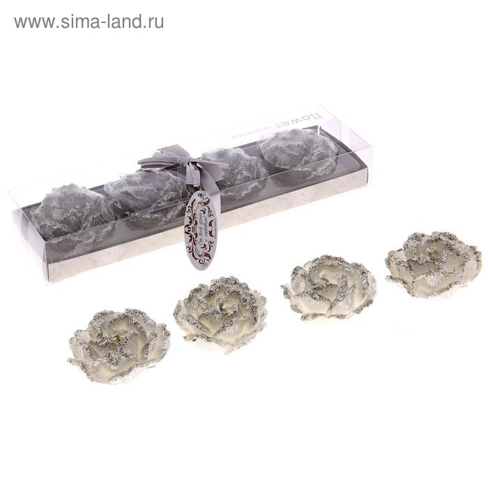 """Свечи восковые (набор 4 шт) """"Камелия"""", цвет серебро"""