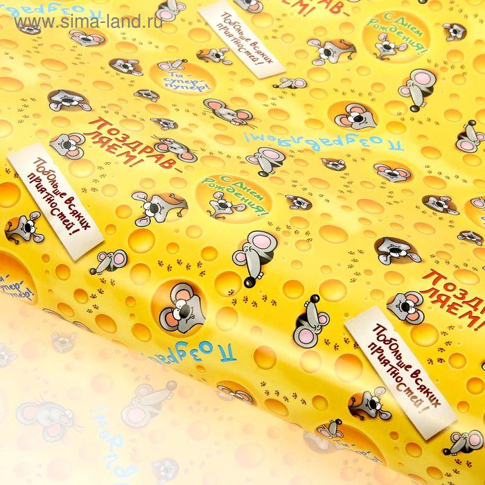 """Бумага упаковочная глянцевая """"Сырные мышата"""", 70х100 см (фасовка 20 л), 80 г/м2"""
