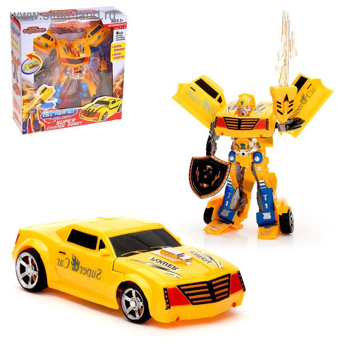"""Робот-трансформер """"Гонка"""", световые и звуковые эффекты, работает от батареек"""