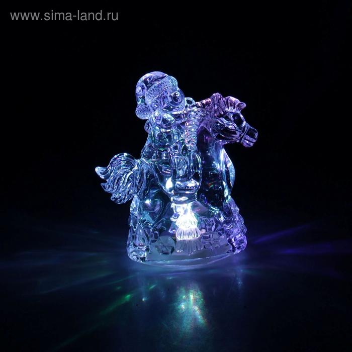 """Игрушка световая """"Снеговик на коне"""", 12х8 см, батарейки в комплекте"""