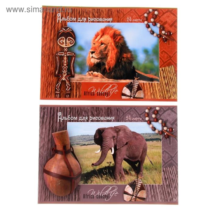 """Альбом для рисования А4, 24 листа на скрепке """"Африка"""", обложка картон 190-215г/м2, блок офсет 100г/м2, МИКС"""