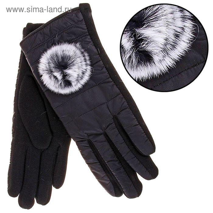 Перчатки женские с меховым цветком, р-р 7,5, черные