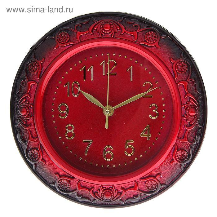 Часы настенные круглые объемный узор на раме, бордо