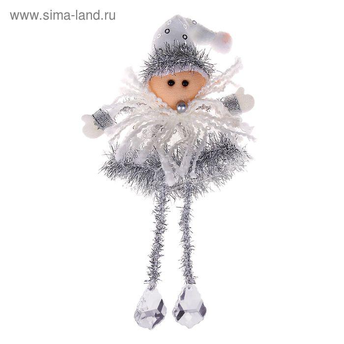 """Мягкая ёлочная игрушка """"Дед Мороз"""" серебрянные ножки"""
