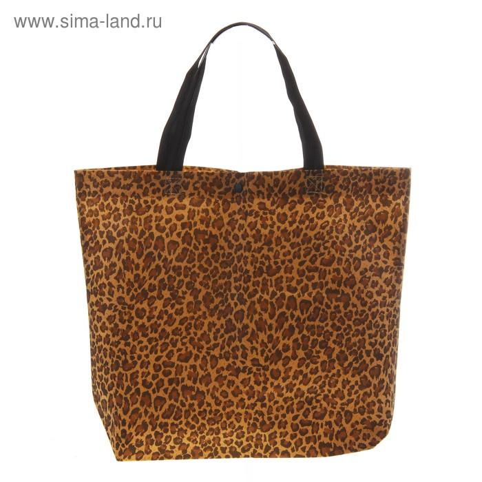 """Сумка хозяйственная """"Леопард"""" на кнопке, цвет коричневый"""