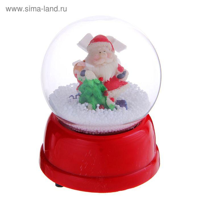 """Снежный шар механический """"Дед Мороз с ёлочкой"""""""