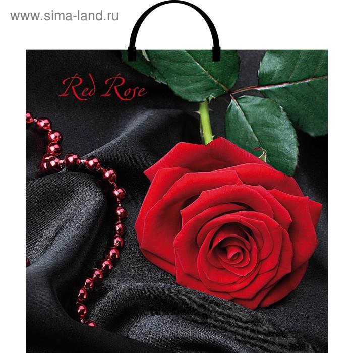 """Пакет """"Красная роза"""" полиэтиленовый, с пластиковой ручкой, 37х36 см, 100 мкм"""