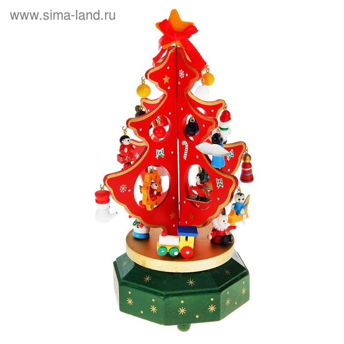 """Сувенир новогодний """"Ель на подставке с игрушками"""", 18 предметов, музыкальная, заводная"""