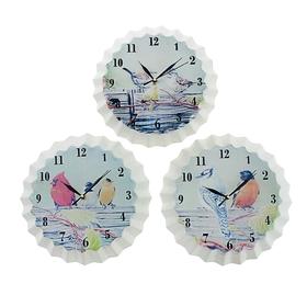 Часы настенные интерьерные 'Серия Крышечка. Птички', d=25 см, микс Ош