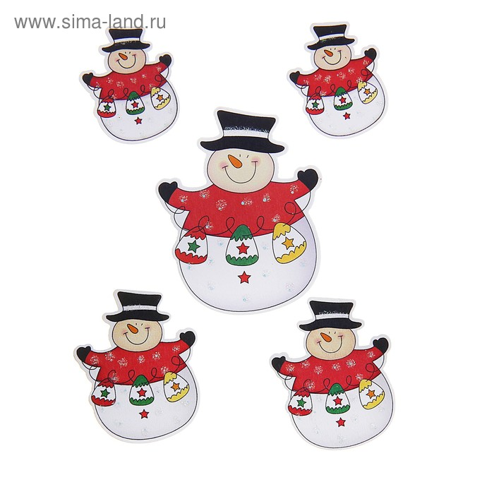 """Наклейки детские деревянные """"Весёлый снеговик"""" (набор 5 шт)"""