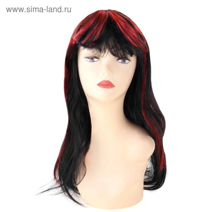 Карнавал парик длинные волосы черные с медью челка конусом
