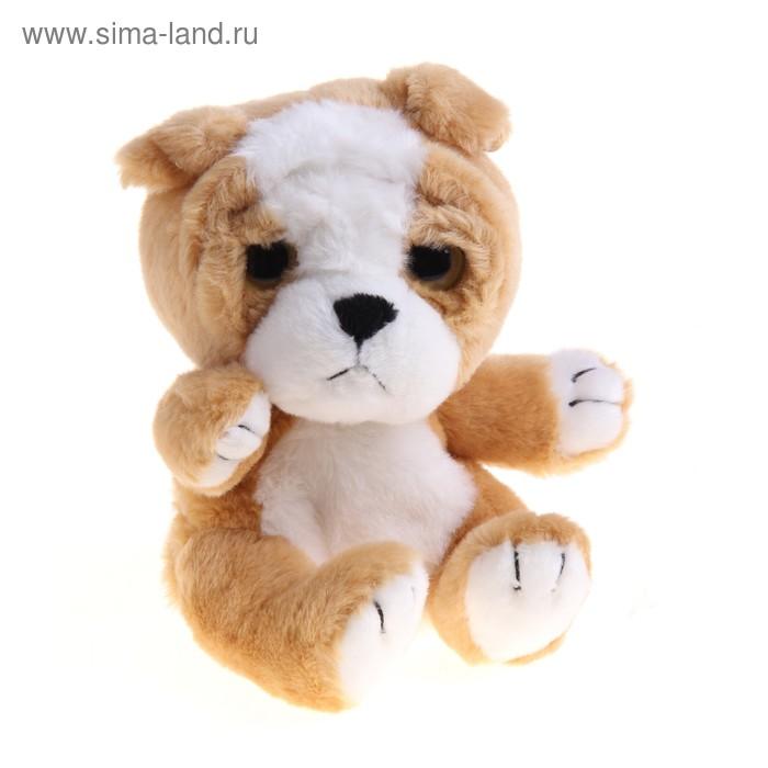 """Мягкая интерактивная игрушка-повторюшка """"Собака-глазастик"""", цвет коричнево-белый"""