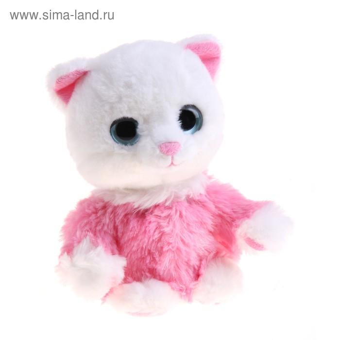 """Мягкая интерактивная игрушка-повторюшка """"Кошечка в розовой кофточке"""", цвет белый"""