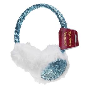Ободок-наушники с пайетками, блеск, цвет бирюзовый