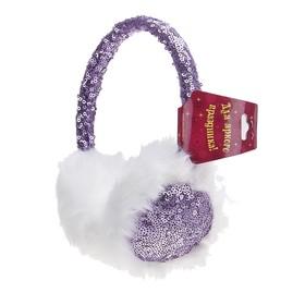 Ободок-наушники с пайетками, блеск, цвет фиолетовый