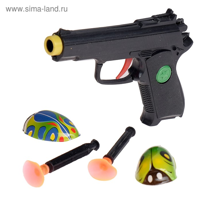 "Пистолет ""Крутые пушки"", 2 жучка, стреляет присосками, цвета МИКС"