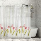 """Штора для ванной 170х180 см """"Цветы"""", полиэстер"""