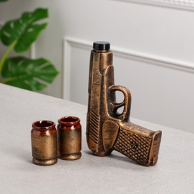 """Штоф с рюмками """"Пистолет"""" бронза, 3 предмета, 0,3 л"""