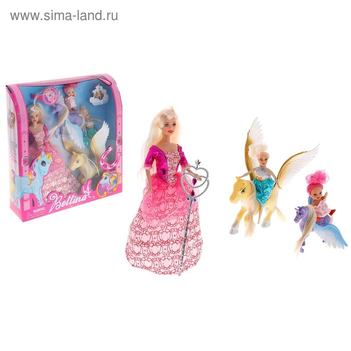 Кукла с двумя малышками и лошадками, МИКС