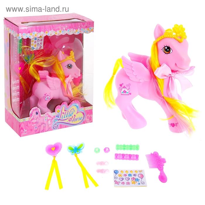 """Пони """"Принцесса"""" с короной, крылышками и аксессуарами"""
