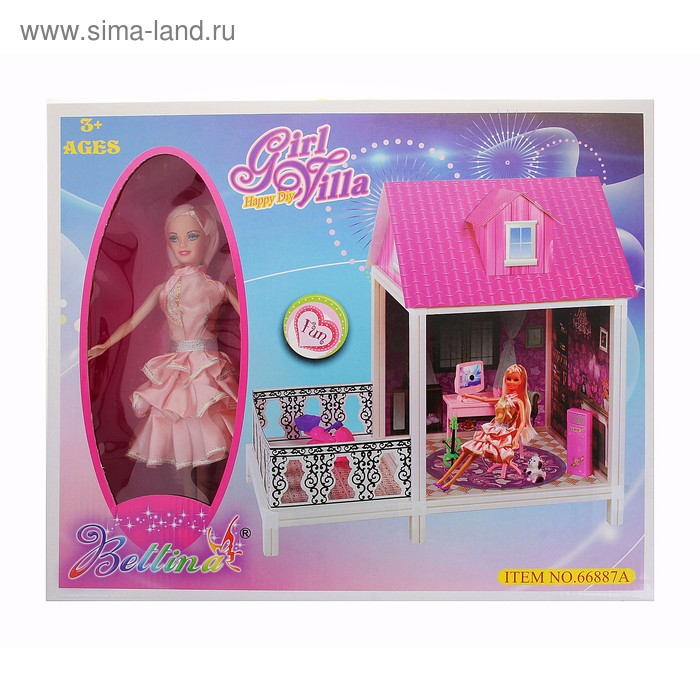 """Дом для кукол """"Гостинная"""" объемный,одноэтажный, с куклой и аксессуарами"""