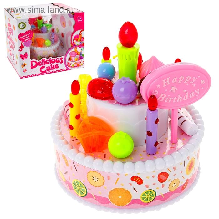 """Торт """"С днем Рождения"""" с аксессуарами, световые и звуковые эффекты"""