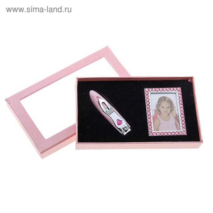"""Набор подарочный 2в1: фоторамка, кусачки """"Гламур"""", цвет розовый"""