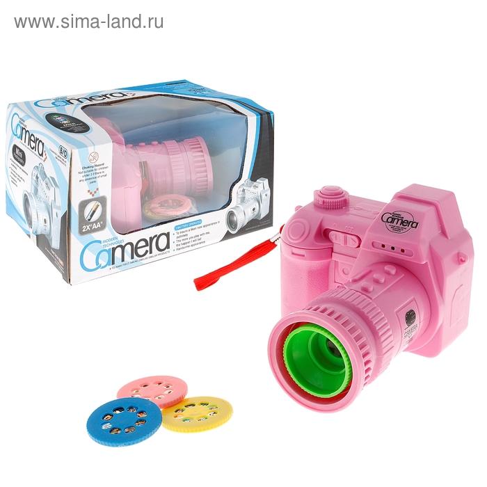 Фотоаппарат со съемными дисками, картинки животных/фруктов, звуковые эффекты, работает от батареек