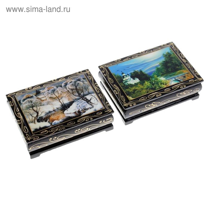 Шкатулка лаковая миниатюра 8х10 см Пейзаж микс