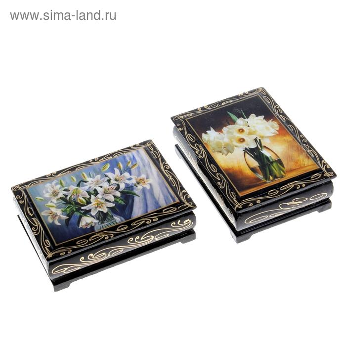 Шкатулка лаковая миниатюра 8х10 см Цветы микс