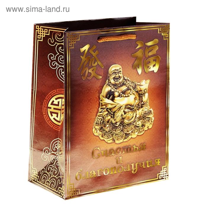 Пакет ламинат вертикальный с тиснением «Счастья и благополучия», 26 х 32 см