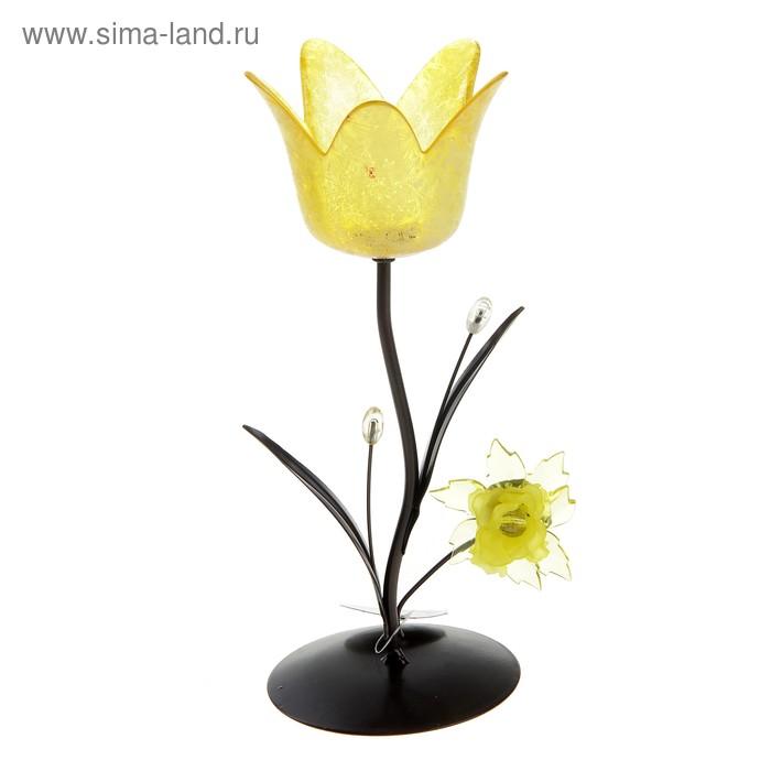 """Подсвечник """"Весенний тюльпан"""", цвет желтый"""