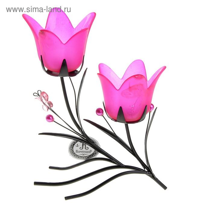 """Подсвечник на 2 свечи """"Весенний тюльпан"""", цвет розовый"""