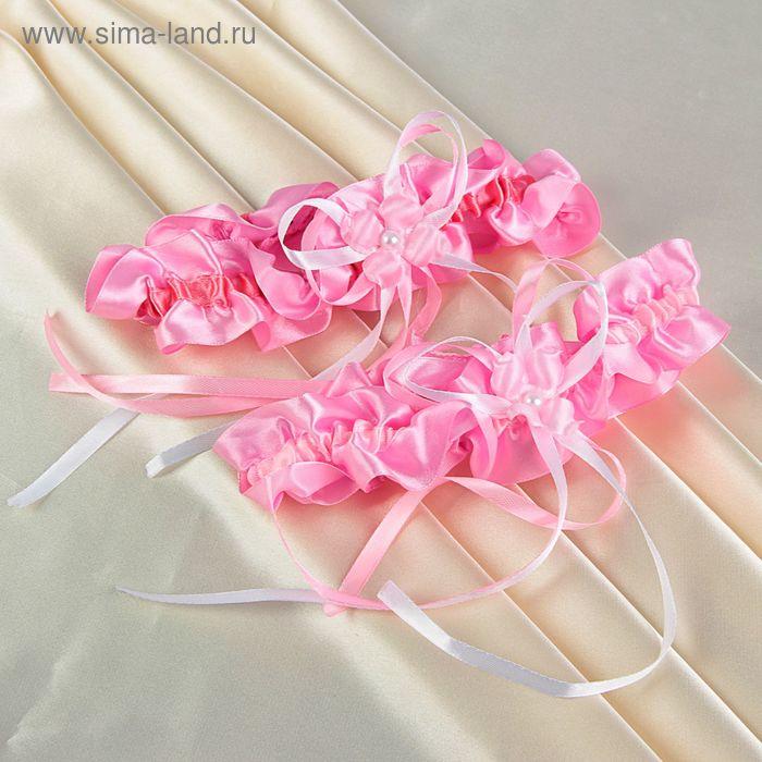 Подвязка розовая с бантом и цветами