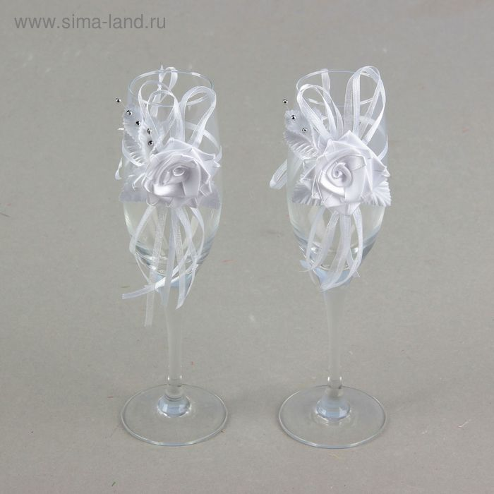 Декор на бокалы, набор 2 шт, цвет белый