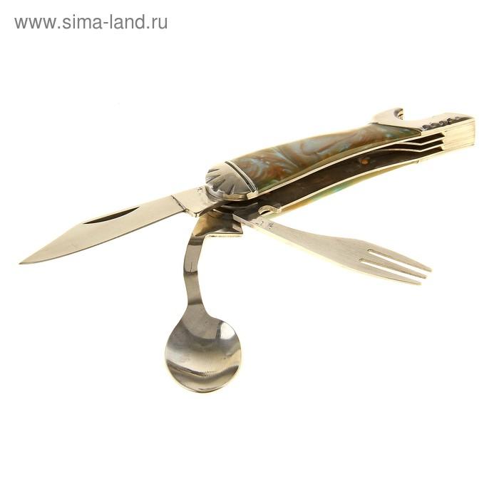Набор туриста 4в1: нож, вилка, ложка, открывалка, рукоять под камень