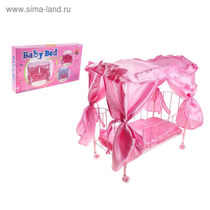 Кроватка для куклы, на колёсиках, с балдахином