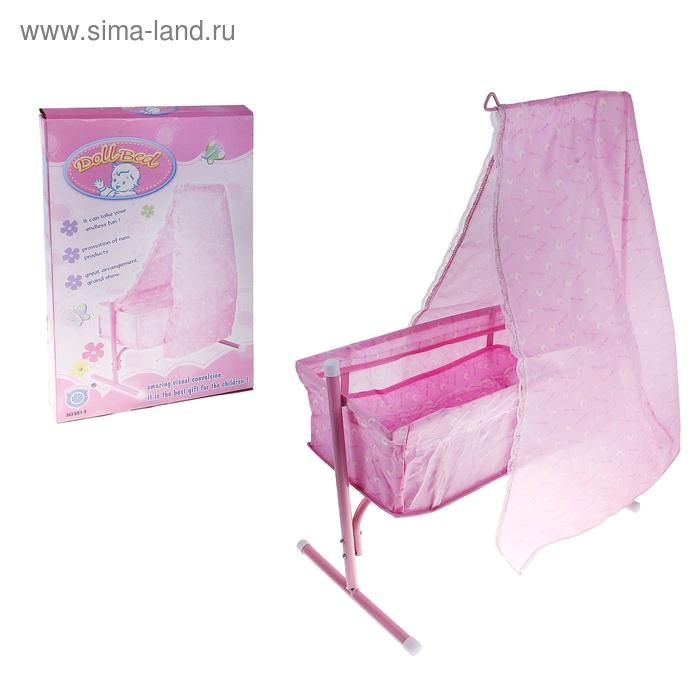 Кровать-качалка для куклы с балдахином