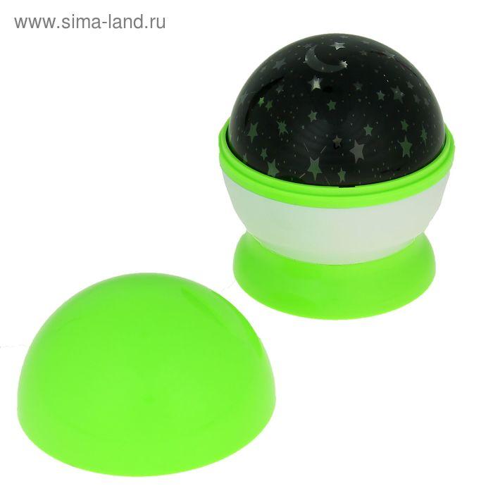 """Ночник-проектор """"Звёздное небо"""" зелёный, крутящийся"""