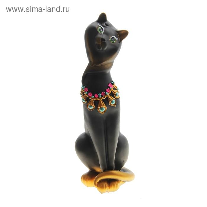 """Копилка кошка """"Анжелика в ожерелье"""" чёрная, золото гипс"""