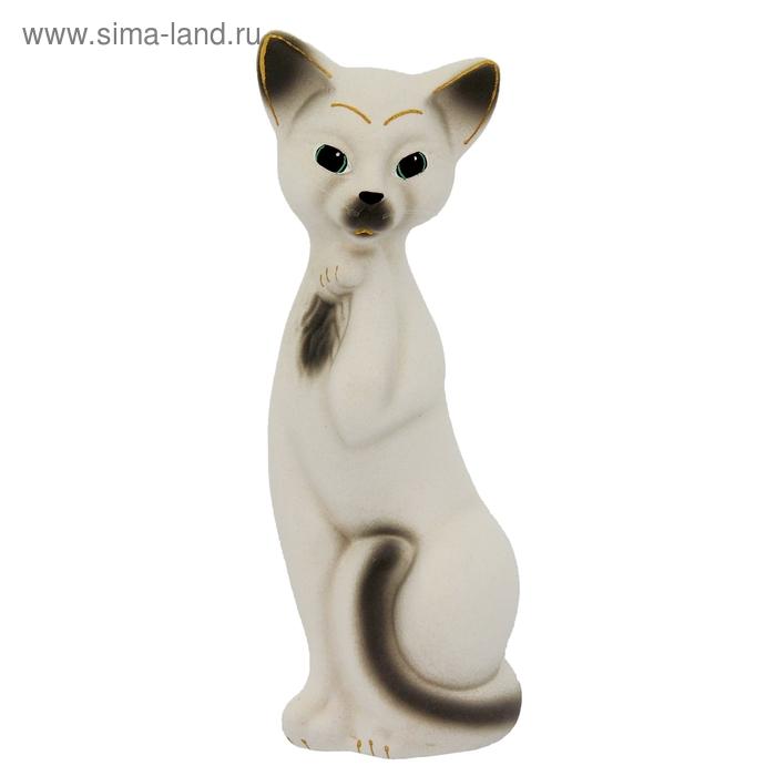 "Копилка ""Кошка Алиса"" средняя, флок, белая"